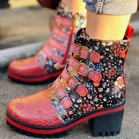 Foreign trade plus size women's shoes 2021 autumn new style AliExpress cross-border mid-cut retro thick heel short boots NHMIX435667's discount tags