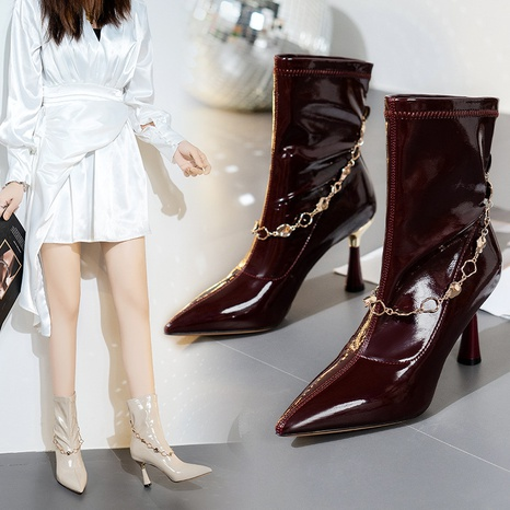 New pointed high-heeled short boots women's stiletto heel 2021 autumn and winter single boots women's short tube thin boots fashion women's boots NHMIX435670's discount tags