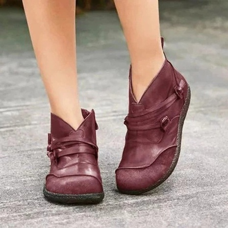 Wish Amazon AliExpress retro flat women's boots 2021 autumn and winter new European and American distressed color matching low boots NHMIX435672's discount tags