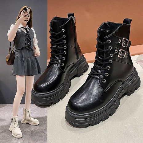 2021 new British style thick-soled short boots women low tube locomotive autumn and winter Korean casual fashion increased Martin boots women NHMIX435676's discount tags