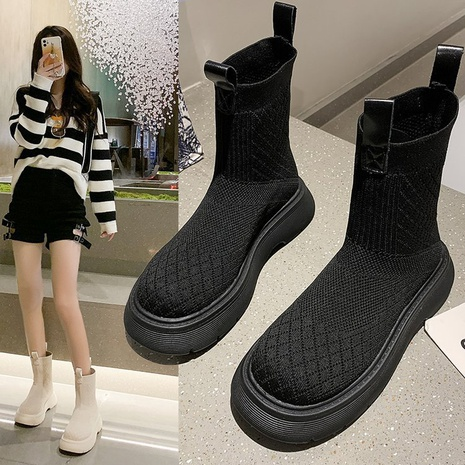 High-top socks shoes women's autumn 2021 new thick-soled pipe Martin boots stretch flying woven casual short boots socks boots NHMIX435677's discount tags