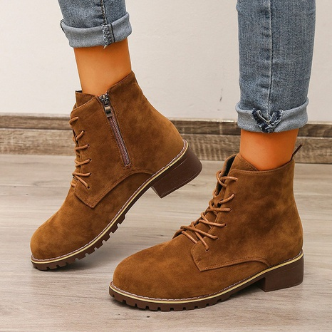 Cross-border foreign trade British style autumn and winter fashion side zipper Martin boots casual breathable large size low-heeled women's shoes NHMIX435678's discount tags