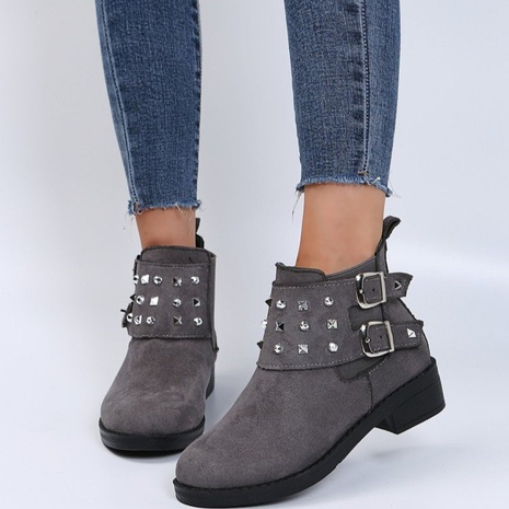 Foreign trade plus size Martin boots mid-heel square heel belt buckle round head sleeve boots European and American fashion short-tube female boots NHMIX435679's discount tags