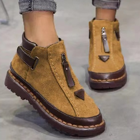 Foreign trade plus size short boots 2021 autumn and winter new style British style Chelsea women's boots thick-soled Martin boots wholesale NHMIX435680's discount tags