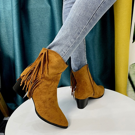 2021 foreign trade plus size European and American short tube fringed boots pointed toe women's boots thick heel mid heel fashion short boots wholesale NHMIX435682's discount tags