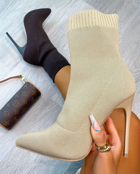 European and American pointed toe knit middle tube high-heeled women's boots independent stand foreign trade large-size fine-heeled flying woven women's boots NHMIX435683's discount tags
