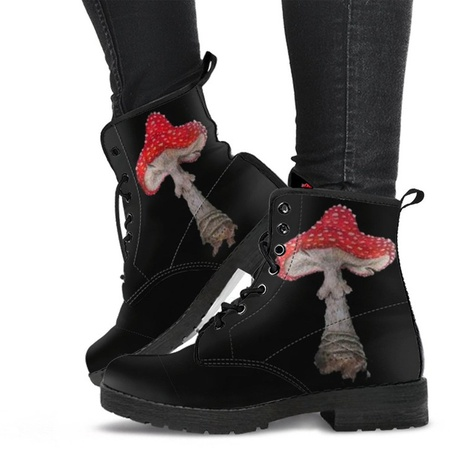 Cross-border 2021 autumn and winter European and American personality tide mushroom pattern lace Martin boots foreign trade 43 size female short boots Amazon NHMIX435685's discount tags