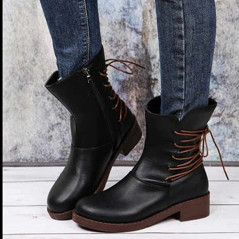Cross-border foreign trade plus size short boots 2021 autumn and winter European and American fashion new round head belt buckle thick heel Martin boots women NHMIX435686's discount tags