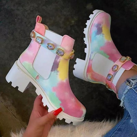 Cross-border foreign trade new style large size colorful printed short boots women 2021 European and American fashion rhinestone thick heel trend Martin boots NHMIX435687's discount tags