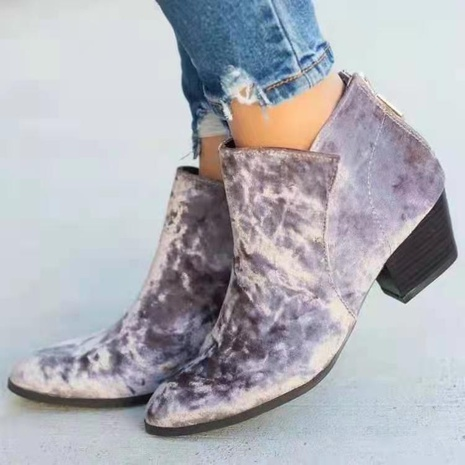 2021 autumn and winter new European and American foreign trade women's shoes low heel back zipper large size cross-border Amazon new women's short boots NHMIX435689's discount tags
