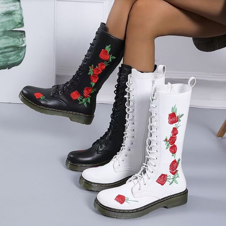 2021 foreign trade plus size Chinese style embroidered middle tube Martin boots lace-up casual square heel leather boots flower round head boots NHMIX435692's discount tags