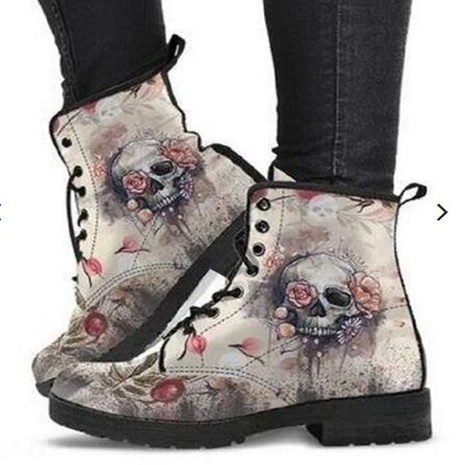 2021 winter cross-border Martin boots short boots autumn and winter fashion warm high-top skull pattern Martin boots NHMIX435693's discount tags