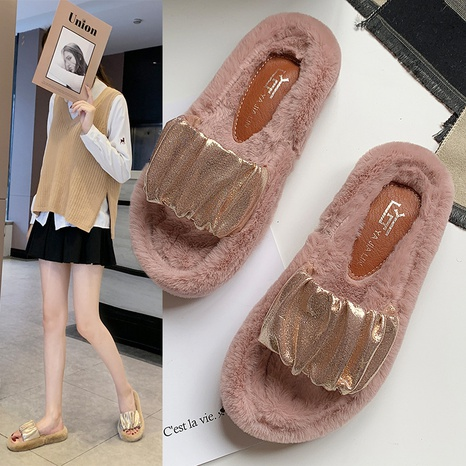 ins net red slippers 2021 autumn Korean version of the new sparkling pleated fairy temperament open toe hairy slippers NHMIX435697's discount tags