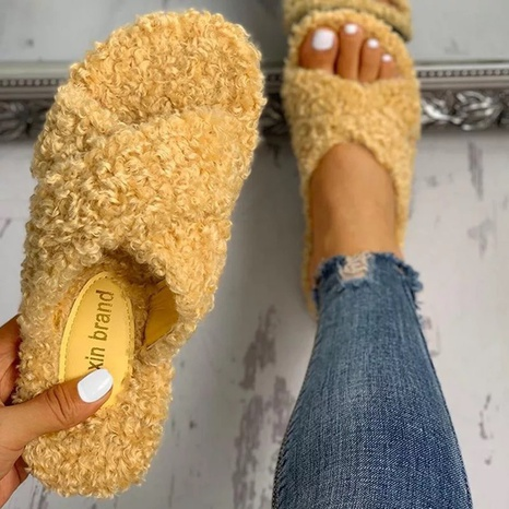 Spot foreign trade large size woolen slippers women cross-border flat-bottomed lamb wool ladies slippers cross-border supply slippers NHMIX435698's discount tags