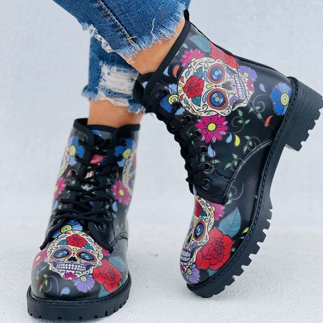 Cross-border 2021 autumn and winter new style European and American print lace-up low-heel short tube Martin boots women's boots  NHMIX435703's discount tags