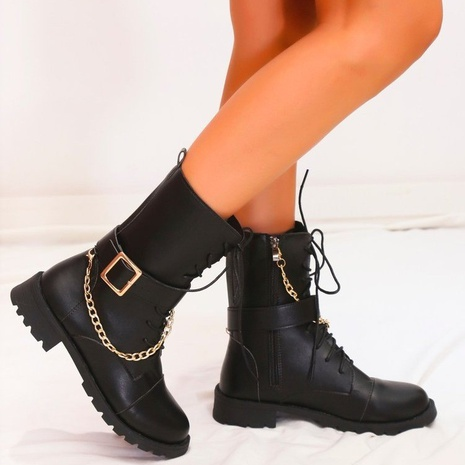 European and American autumn and winter fashion Martin boots female Amazon casual boots flat solid color Chelsea boots NHMIX435705's discount tags