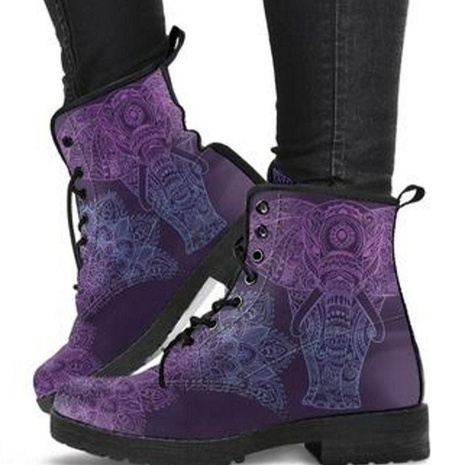 casual lace European and American high-top round toe autumn and winter Martin boots plus size NHMIX435707's discount tags