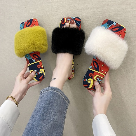 Foreign trade plus size 2021 autumn new style Korean version of Bai Ta outer wear flat bottom fashion hairy net red women's slippers wholesale NHMIX435719's discount tags