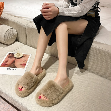 2021 summer and autumn new furry slippers women wear Korean thick-soled outer wear net red one-line student cotton shoes home NHMIX435721's discount tags