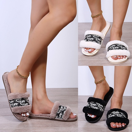 Presbyopic hairy slippers female fairy style autumn 2021 new style flat-bottomed lazy one-word slippers female NHMIX435726's discount tags