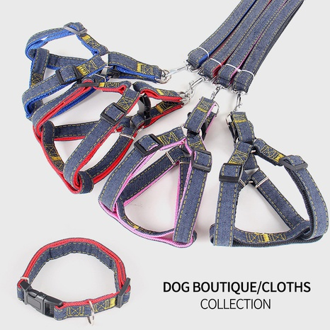 Pet leash denim chest harness dog leash collar dog leash dog chain pet supplies wholesale NHZHX435253's discount tags
