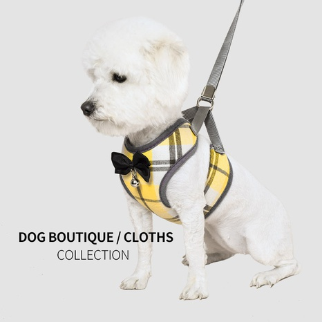 pet products traction rope small dogs and cats breathable vest-style chest strap lattice Korean fashion traction device NHZHX435270's discount tags
