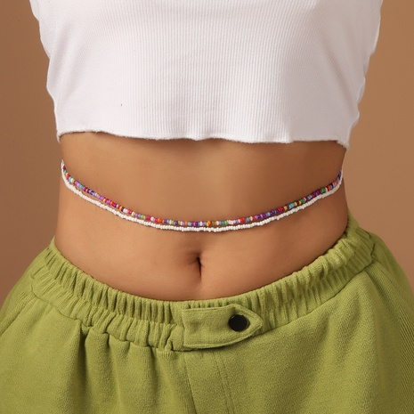 new beaded body chain bohemian color handmade rice bead waist chain NHMO435873's discount tags