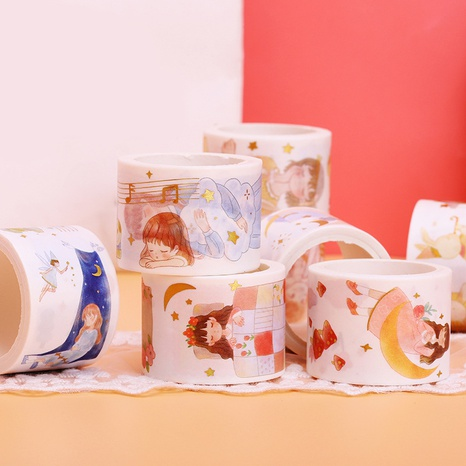 cartoon bronzing paper tape student hand book decoration stickers wholesale Nihaojewelry NHDW417059's discount tags