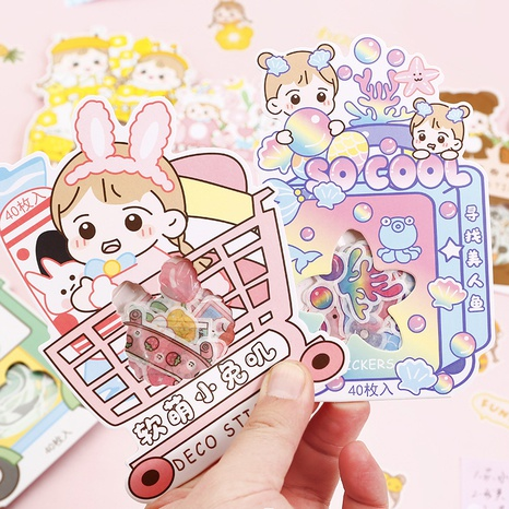 cartoon cute girl heart hand account diary decoration material stickers wholesale nihaojewelry NHDW417068's discount tags