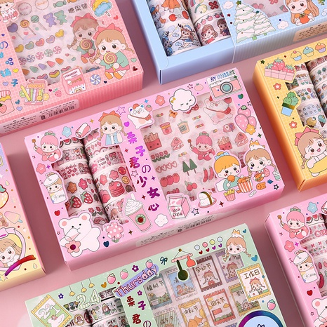 cartoon cute girl hand account decoration material sticker wholesale nihaojewelry NHDW417078's discount tags