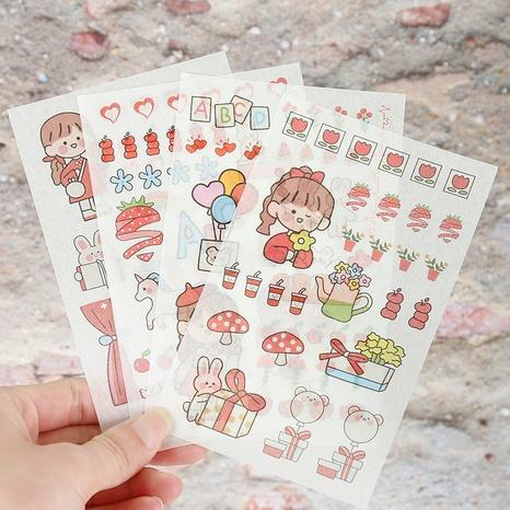 creative cartoon girl bunny hand account diary stickers wholesale nihaojewelry NHDW417082's discount tags