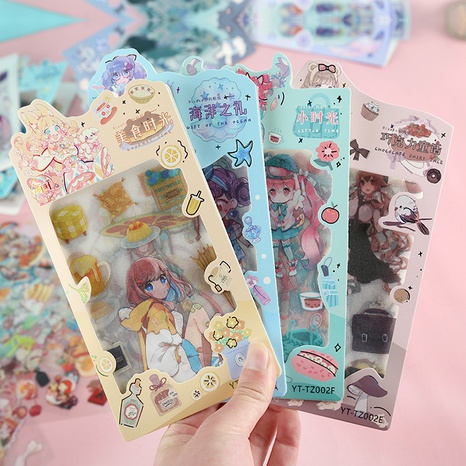 cartoon transparent girl frosted sticker wholesale nihaojewelry NHDW417101's discount tags