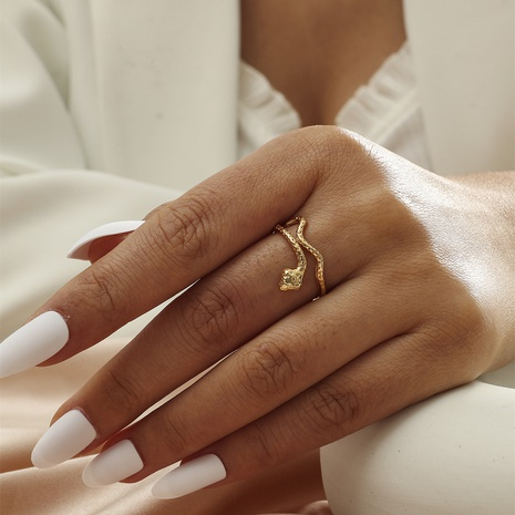 Small independent personality snake-shaped opening ring simple and versatile real gold ring NHIQ439732's discount tags