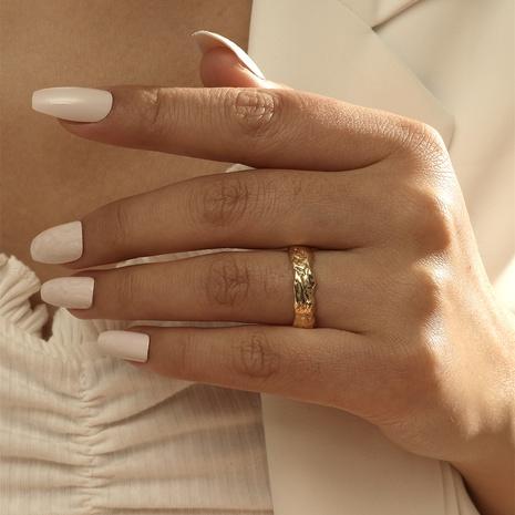 Personalized design irregular pattern Korean version ring female fashion niche copper ring NHIQ439727's discount tags