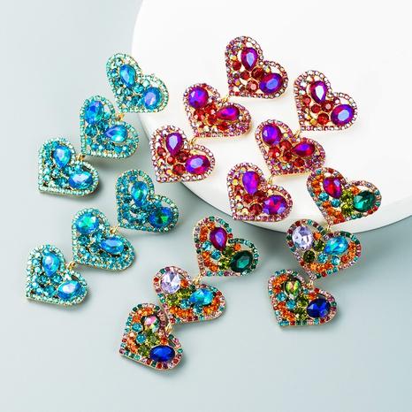 multi-layer heart-shaped color rhinestone pendant earrings wholesale nihaojewelry  NHLN419899's discount tags