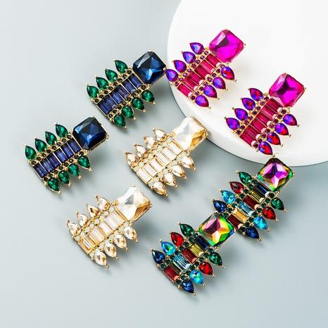 fashion color rhinestone geometric pendant earrings wholesale nihaojewelry  NHLN419903's discount tags