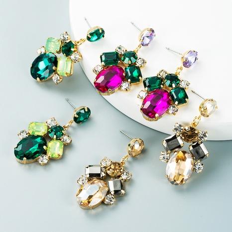 geometric colored glass diamond pendant earrings wholesale nihaojewelry  NHLN419906's discount tags