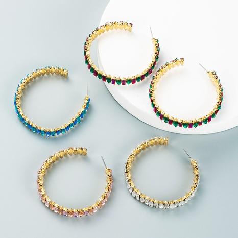 C-shaped full color diamond stud earrings wholesale nihaojewelry  NHLN419910's discount tags