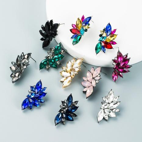 geometric flower color rhinestone stud earrings wholesale nihaojewelry  NHLN419925's discount tags