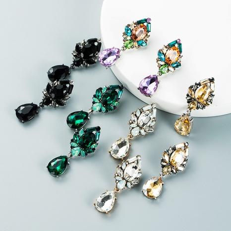 drop-shaped glass diamond pendant earrings wholesale nihaojewelry  NHLN419943's discount tags