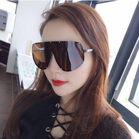 fashion geometric large frame one piece metal polarized sunglasses wholesale Nihaojewelry NHVM416827's discount tags