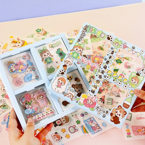 cartoon fashion hand account paper frosted transparent stickers wholesale nihaojewelry NHDW417080's discount tags
