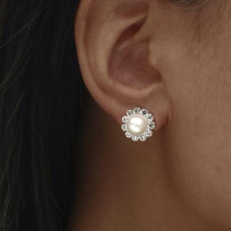 Women's Rhinestone Pearl Copper Stud Earrings NHIQ439708's discount tags