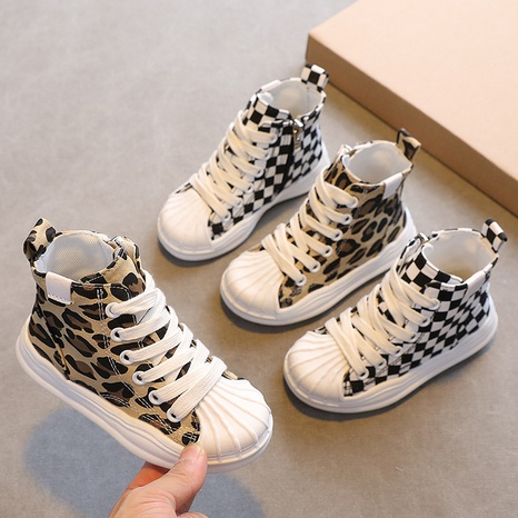 Children's high-top canvas shoes spring and autumn side zipper leopard print children's shoes Korean casual shoes NHTUT436540's discount tags
