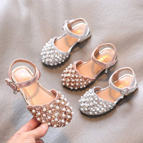 Girls' small high-heeled sandals summer casual shoes rhinestone hollow princess shoes NHTUT436574's discount tags