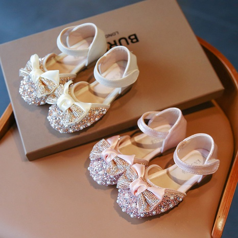 Girls Sandals Summer Pearl Bow Princess Shoes Korean New Style Big Kids Fashion Beach Shoes NHTUT436591's discount tags