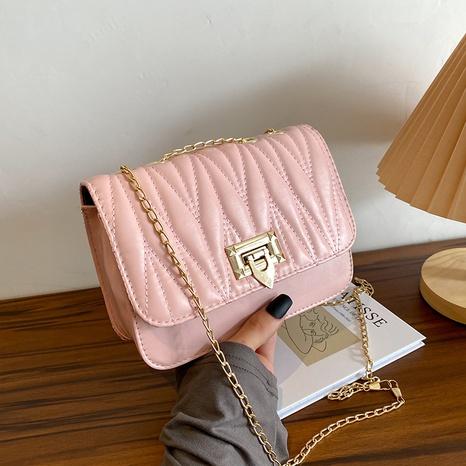 2021 new stitching crossbody shoulder bag ins advanced lock chain bag  NHRU436770's discount tags