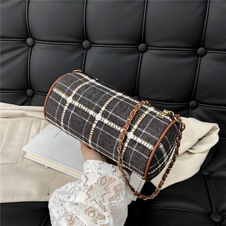 Plaid fold drawstring nylon cloth messenger bag NHRU436776's discount tags