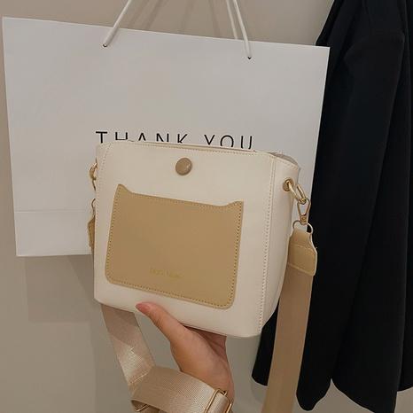 new trendy wide shoulder strap hit color single shoulder messenger tote bucket bag NHRU436778's discount tags