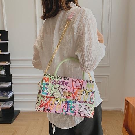 new graffiti bag painted letter printing personality bag tide large capacity handbag NHTG436840's discount tags